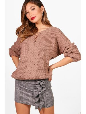 BOOHOO Stephanie Lace Up Cable Detail Jumper