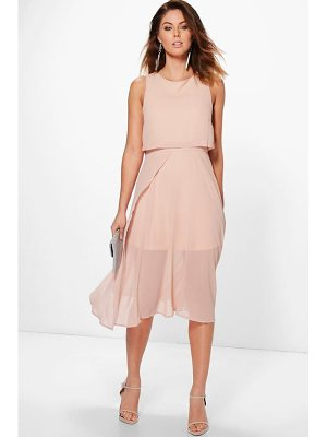 BOOHOO Sybil Chiffon Double Layer Midi Skater Dress