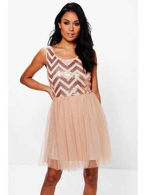 BOOHOO Tamara Sequin Top Mesh Skirt Skater Dress