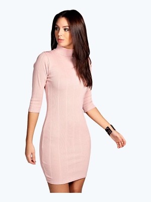BOOHOO Tara Turtle Neck Rib Bodycon Dress