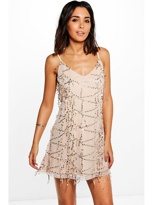 BOOHOO Taylor Strappy Sequin Swing Dress