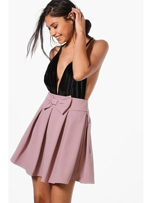 BOOHOO Theresa Bow Front Full Skater Skirt