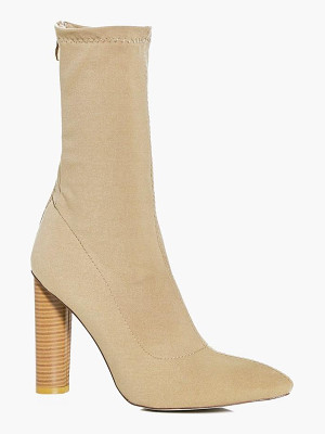 BOOHOO Tia Cylinder Heel Pointed Sock Boot