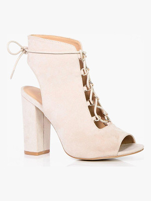 BOOHOO Tia Wide Fit Lace Up Shoe Boot