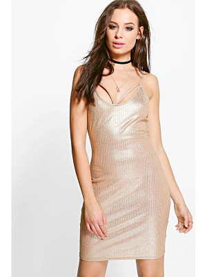 BOOHOO Tiara Metallic Rib Strappy Bodycon Dress
