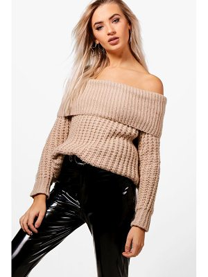 BOOHOO Tiffanie Soft Knit Marl Bardot Jumper