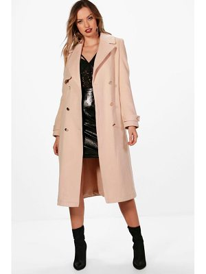 BOOHOO Tina Double Breasted Wool Look Coat