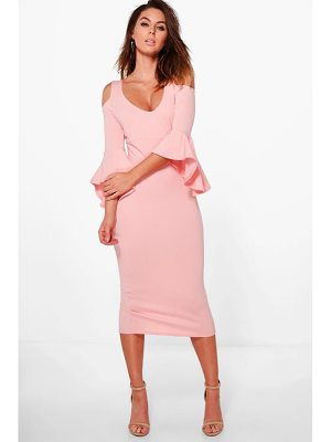 Boohoo Open Shoulder Frill Midi Dress