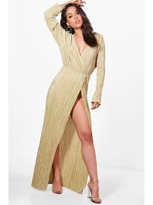 BOOHOO Vicky Pleated Long Sleeve Wrap Maxi Dress