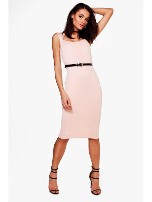 Boohoo Tailored Belted Midi Dress