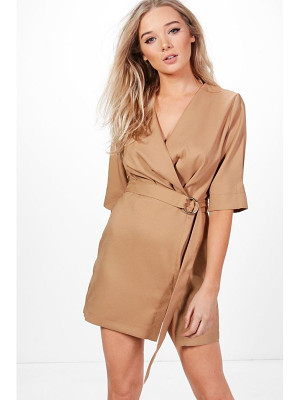 BOOHOO Willow Pleat Front Belted Dress