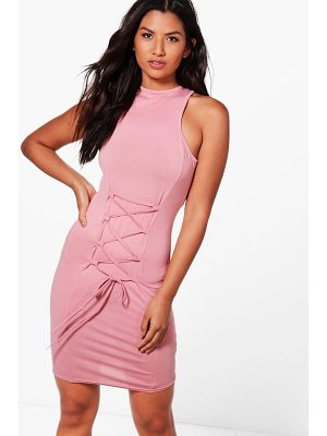 BOOHOO Willow Racer High Neck Bodycon Dress