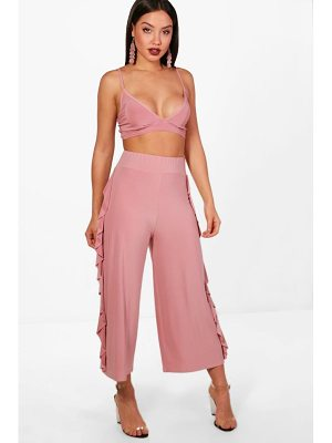 Boohoo Willow Slinky Firll Culotte and Bralet Set