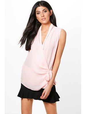 BOOHOO Willow Wrap Tie Blouse