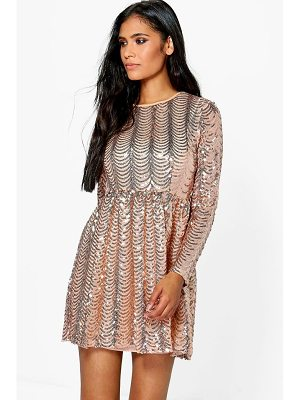 BOOHOO Xena Printed Sequin Long Skater Dress
