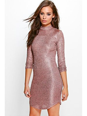BOOHOO Xenia Metallic Rib Roll Neck Bodycon Dress
