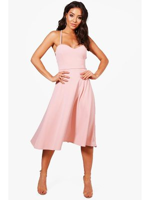 BOOHOO Yasmin Tie Back Detail Midi Skater Dress