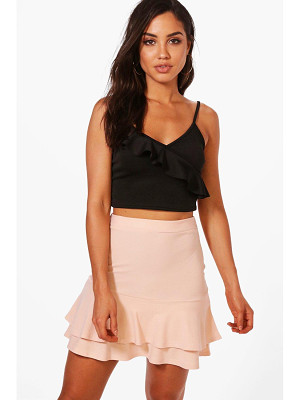 BOOHOO Zaina Double Ruffle Hem Mini Skirt