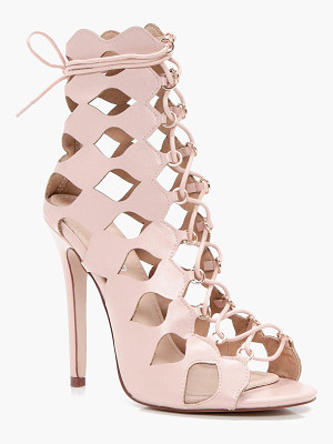 BOOHOO Zoe Cage Ghillie Lace Up Heels