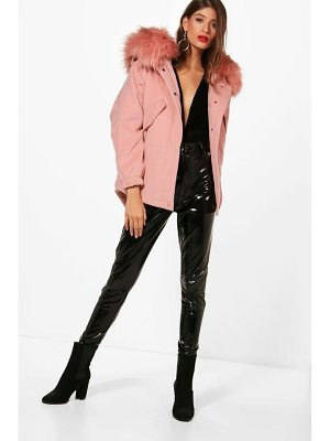 BOOHOO Zoe Faux Fur Trim Wool Look Parka