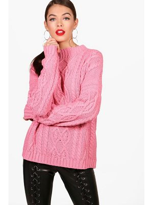 BOOHOO Zoe Funnel Neck Crop Cable Jumper