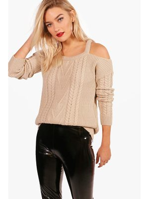 Boohoo Zoe Slash Detail Cable Knit Jumper