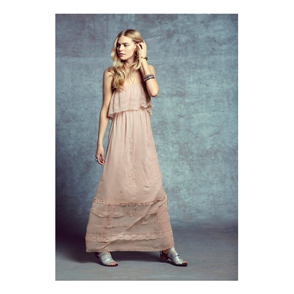 CANDELA Maddie dress - Sheer chiffon maxi dress with elegant beading and tonal...