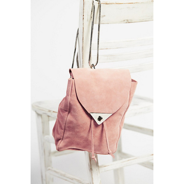 COSTELLA HANDBAGS Jess suede backpack - Small and chic suede backpack with removable metal chain...