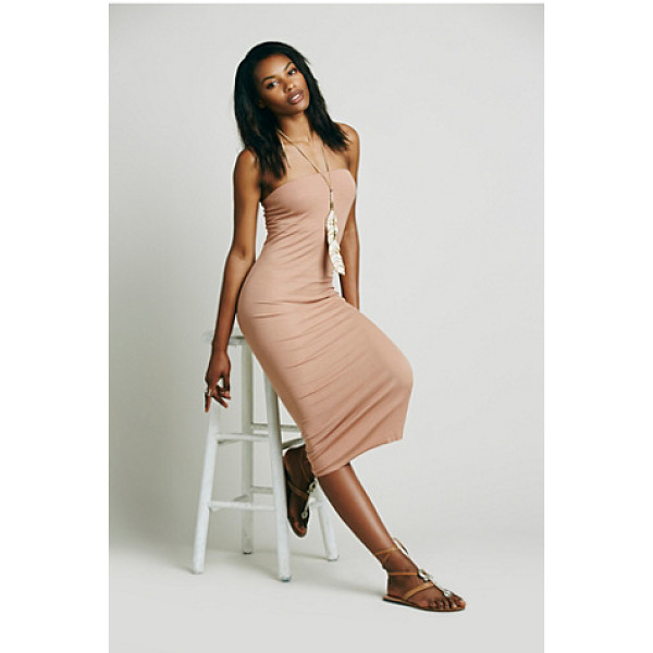 ENZA COSTA Strapless rib dress - Effortlessly sensual strapless bodycon midi dress in a...