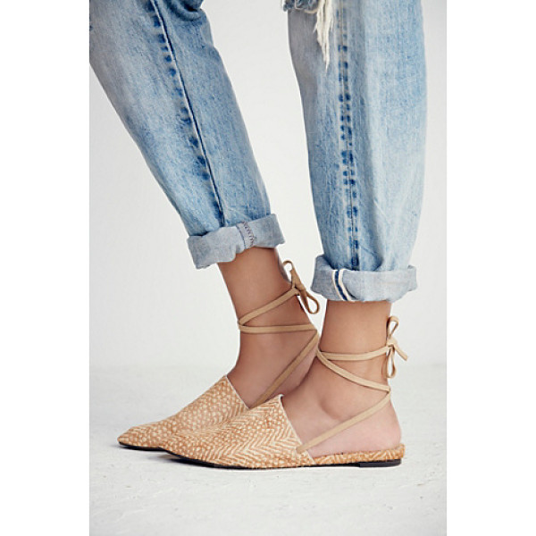 FARYL ROBIN + FREE PEOPLE Freefall flat - Slip on pointy toe flats with a long ankle strap. Treaded...