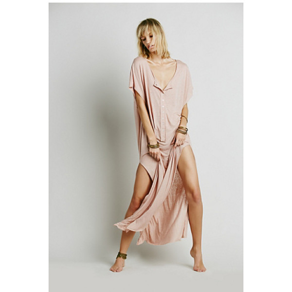 FP BEACH Marrakesh dress - Semi-sheer maxi dress with button placket front and scoop...