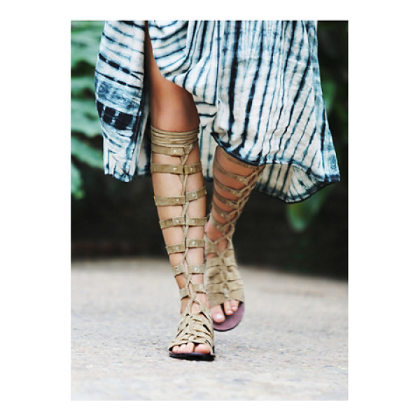 FP COLLECTION Cypress tall sandal - Tall and strappy suede gladiator sandal. Laces up the front...