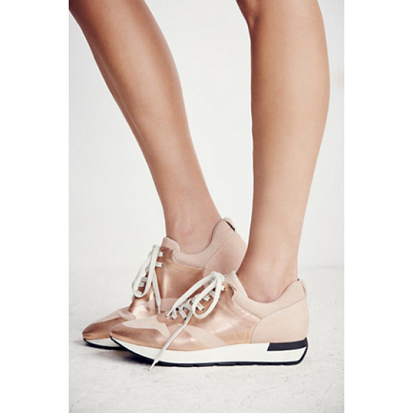 FP COLLECTION Kick it lace up sneaker - In a retro silhouette these metallic leather sneakers...