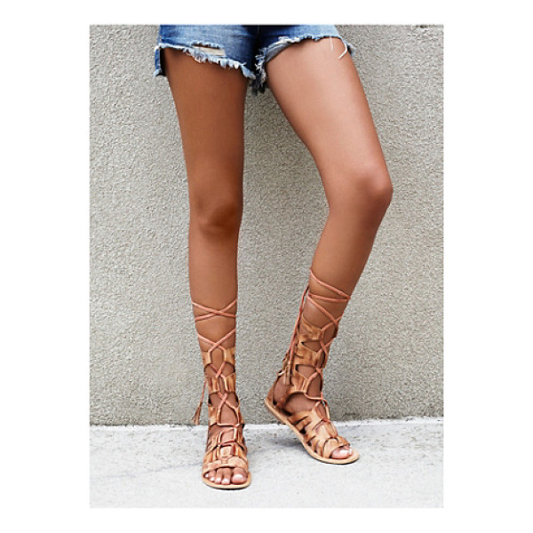 FP COLLECTION None - Strappy leather gladiator sandals featuring lace-up...