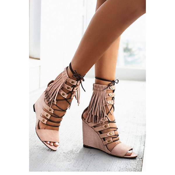 FP COLLECTION None - Luxe leather open toe wedges featuring statement fringe...