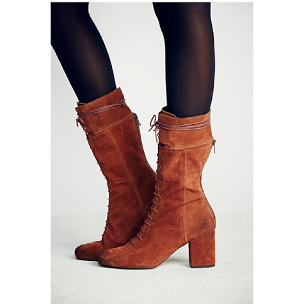 FREE PEOPLE Cantrell lace-up boot - Victorian-inspired distressed suede lace-up boots with zip...
