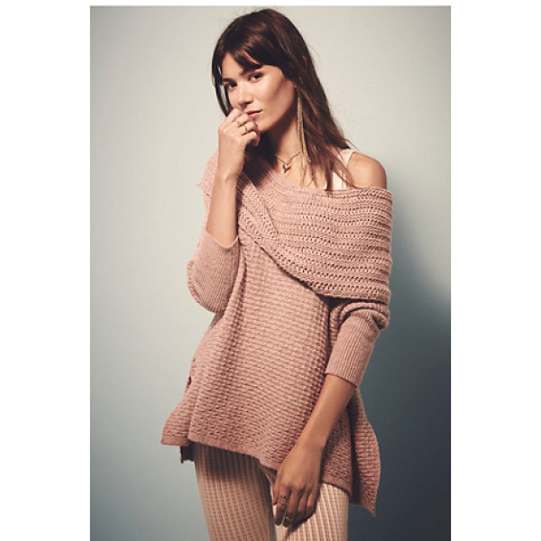 FREE PEOPLE Close to me pullover - Slouchy textured pullover sweater with a dramatic neckline...