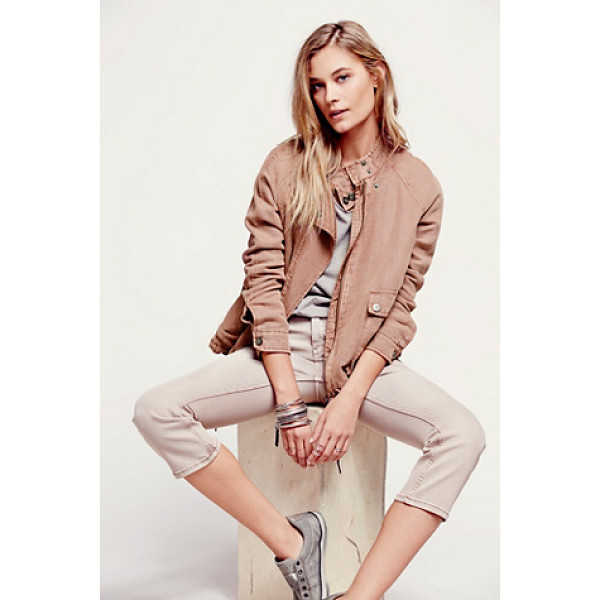 FREE PEOPLE Double cloth zip up jacket - Double cloth super soft zip jacket with utility pockets and...
