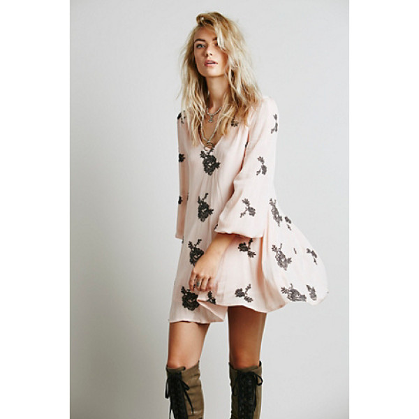 """FREE PEOPLE Embroidered austin dress - """"Flowy swing dress with beautiful floral embroidered..."""