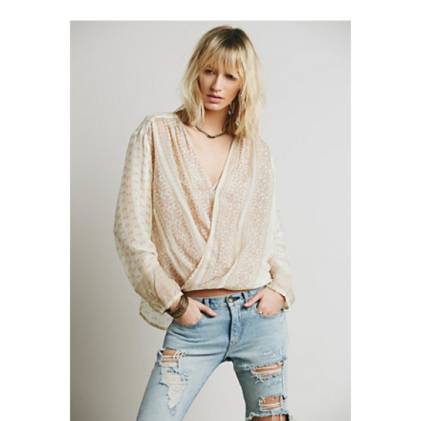FREE PEOPLE Fp one before dawn top - Lightweight semi-sheer printed wrap top featuring a high...