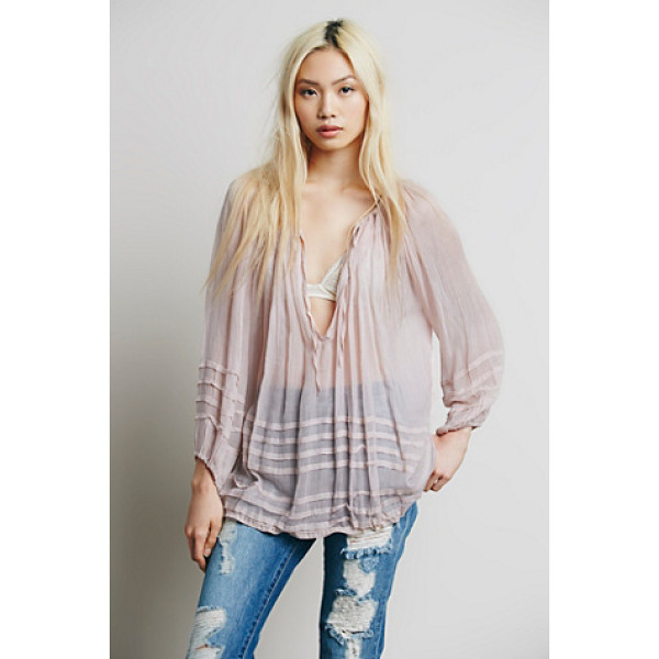 FREE PEOPLE Fp one tie that binds blouse - Sheer blouse in a delicate weave featuring a deep pleated...