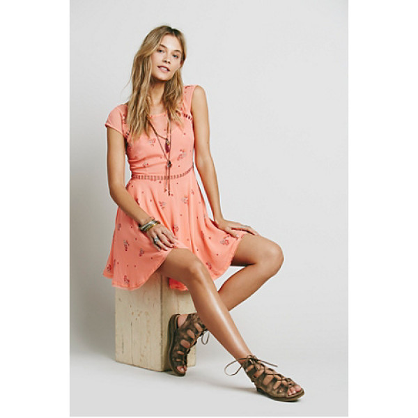 FREE PEOPLE Girl code printed dress - Printed chiffon mini with ladder cutwork trims along the...