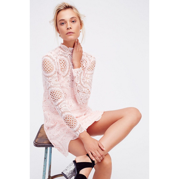 FREE PEOPLE Ibiza lace dress - Crochet lace mini dress featuring a mock neck long sleeves...