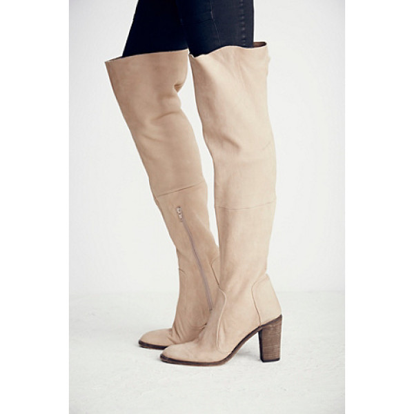 FREE PEOPLE Lachlan over the knee boot - Leather over-the-knee boot with pointed toes and stacked...
