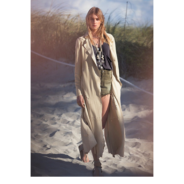 FREE PEOPLE Laser cut suede duster - Super luxe suede duster featuring high slits and laser cut...