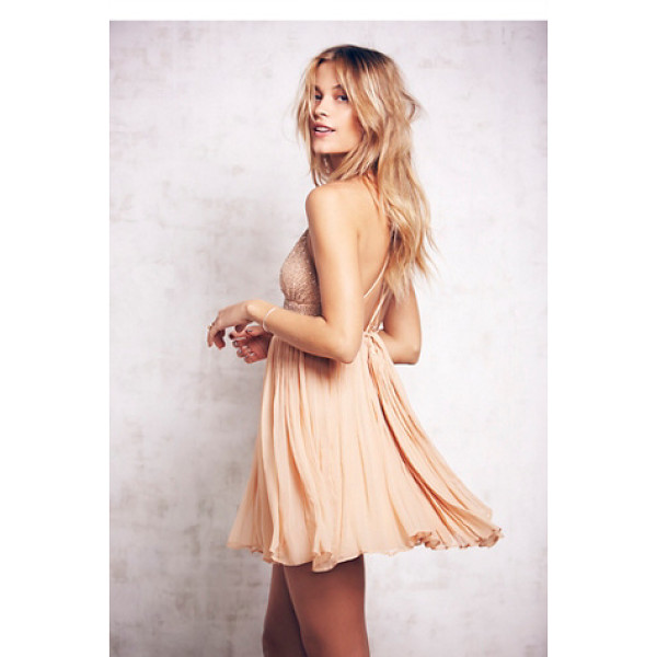 FREE PEOPLE Like a diamond dress - Delicate crinkly chiffon mini dress featuring a pleated...