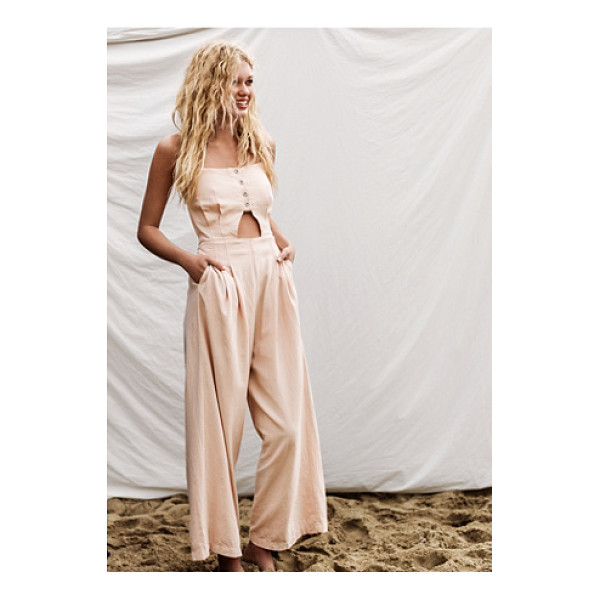 FREE PEOPLE Marbella cutout 1 piece - Linen-blend jumpsuit featuring a cutout at the midriff and...