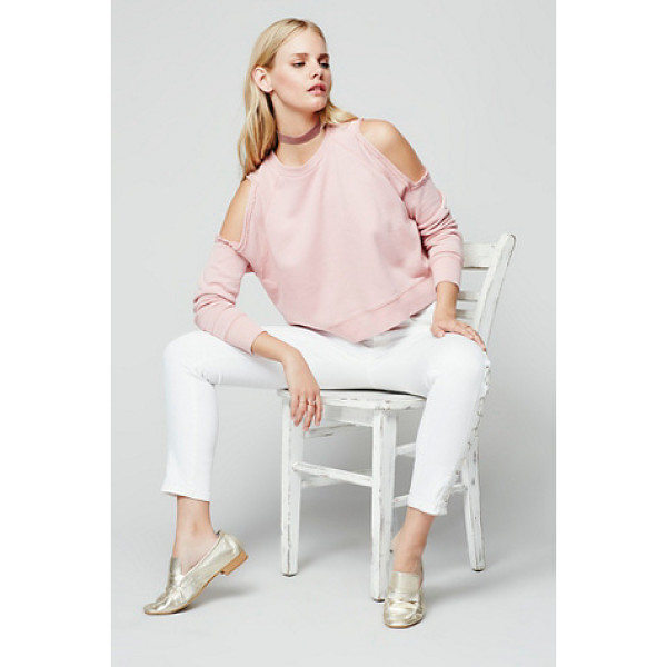 FREE PEOPLE Out west pullover - Classic cotton crew neck pullover featuring cold shoulder...