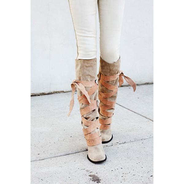 FREE PEOPLE Paradiso wrap boot - Sumptuous suede tall boots with statement wrap detailing...