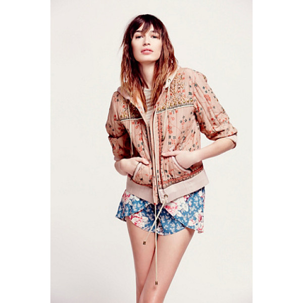 FREE PEOPLE Play my song hooded jacket - Printed cotton voile hooded quilted jacket that is cropped...